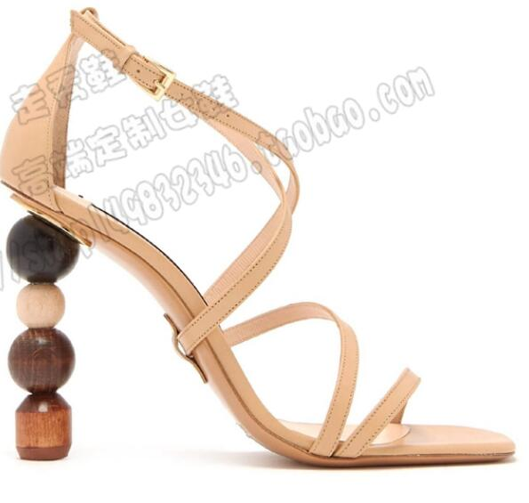 Hot New Fashion White Apricot Split Leather Flower Shoes Cover Heel Women's Shoes Thin Heels Bling Shallow Women's Sandals anmairon shallow leisure striped sandals women flats shoes new big size34 43 pu free shipping fashion hot sale platform sandals