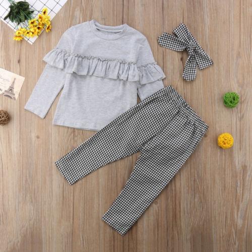 dbb30ab220b5e Toddler Kids Baby Girl clothes Ruffle long sleeve Tops + plaid Pants  Leggings +headband 3Pcs Outfits Clothes set
