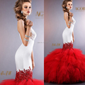 Gorgeous Strapless Tiered Ruffled Floor Length Red Mermaid Wedding Dresses 2014 Vestido De Noiva