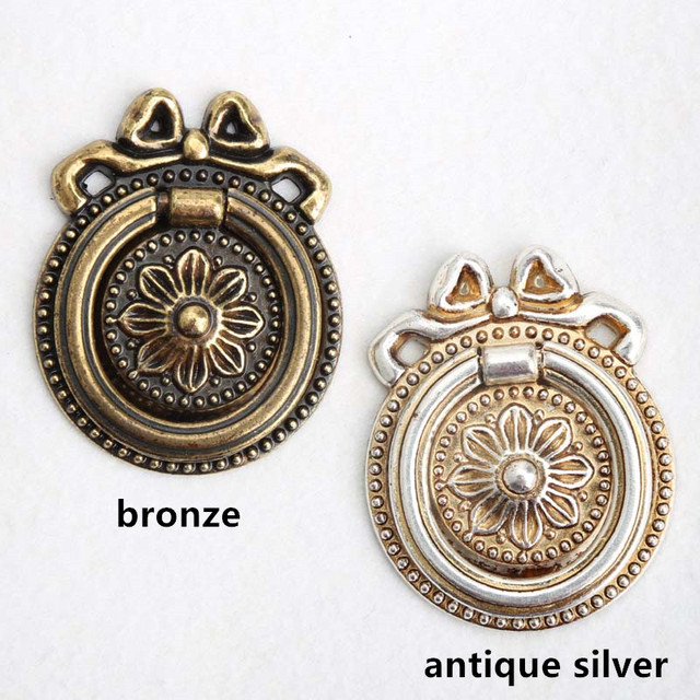 vintage bronze drop rings drawer cabinet knobs pulls antique silver dresser  door handles knobs retro style - Aliexpress.com : Buy Vintage Bronze Drop Rings Drawer Cabinet Knobs