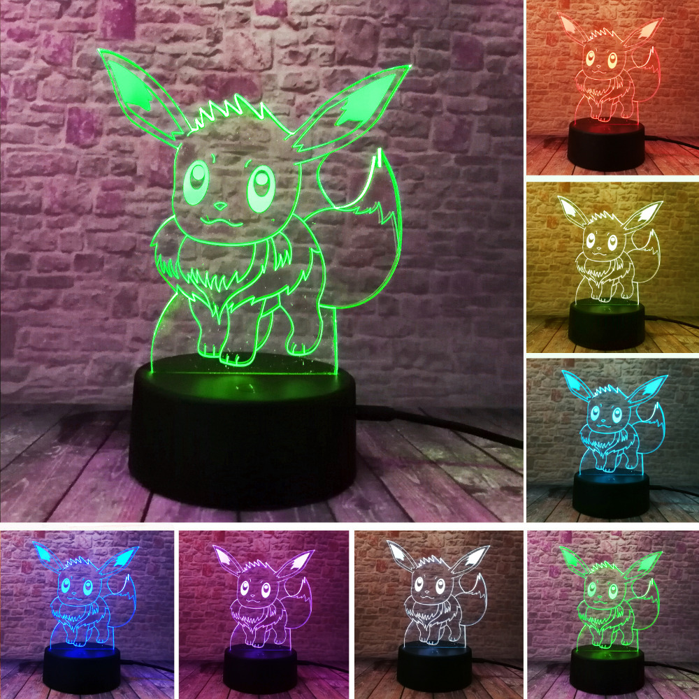 New Fashion Pokemon Go Pikachu Eevee 3D Night Light Action Figue LED Toy 7 Colorful Change Kids Gift Birthday Halloween Xmas Lam