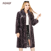 2018 New Real Mink Fur Long Coat Winter Women Jacket Women Fur Genuine Womens Outwear With Real Fur Natural patchwork mink coat