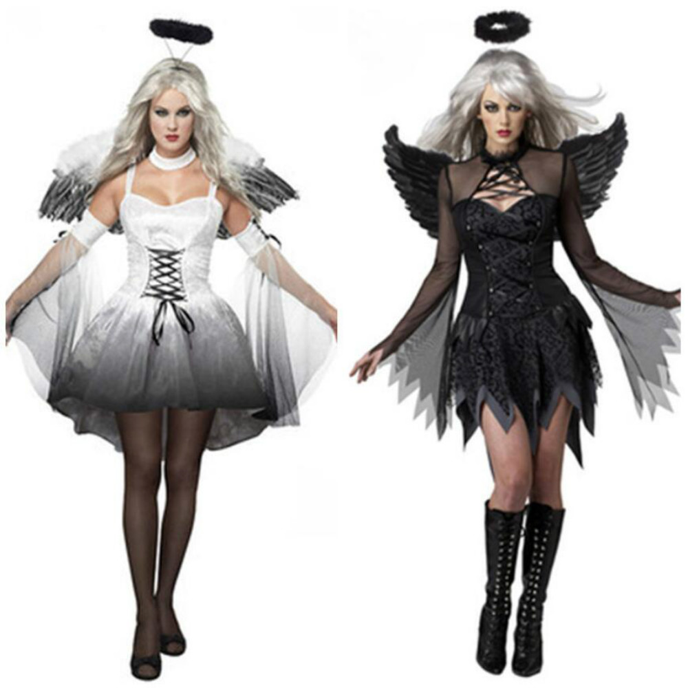 2018 Halloween Costumes For Women Fantasy Cosplay Party Fancy Dress Adult White Black Fallen Angel Costume With Angel Wings
