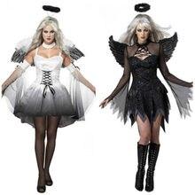 e31a4860f5f8 2018 disfraces de Halloween para mujeres fantasía Cosplay fiesta disfraces  adultos blanco negro caído Ángel disfraz