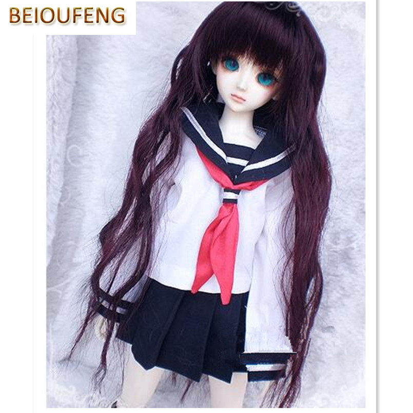 BEIOUFENG 1/3 1/4 1/6 SD BJD Doll Clothes Include Shirts,Black Skirt and Tie,Student Uniform BJD Clothes for Dolls Accessories 1 6 1 4 1 3 bjd sd dd doll accessories doll clothes red fleece for bjd sd doll