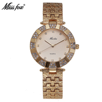 Miss Fox Woman Watches 2016 Brand Luxury Quartz Movement C Golden Clock Stainless Steel Back Water