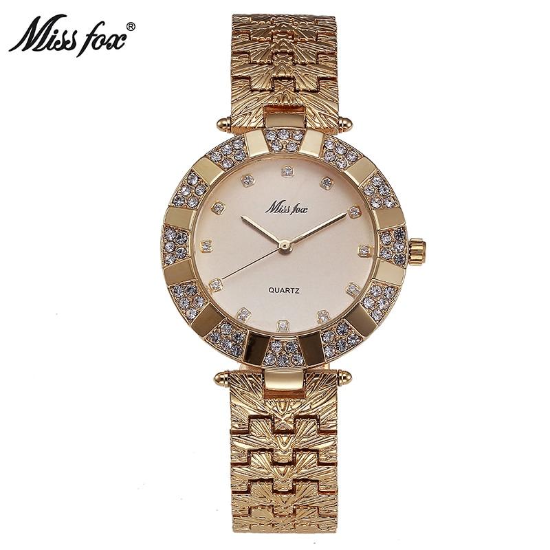 Mlle Fox Femmes Montre De Luxe Marque Mode Casual Dames Montre En Or À Quartz Simple Horloge Relogio Feminino Reloj Mujer Montre Femme