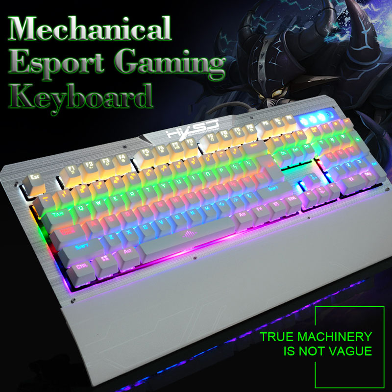 цена на Gaming Keyboards USB Wired Anti-ghosting RGB Backlit Mechanical Keyboard Double Injection Keycap 104 Keys Blue Switch for Gamer