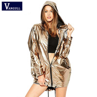 Vangull Women Hoodies Long Sleeve Jacket 2018 New Gold Metallic Zipper Coat Up Punk Unisex Raincoat Showerproof Outerwear Jacket