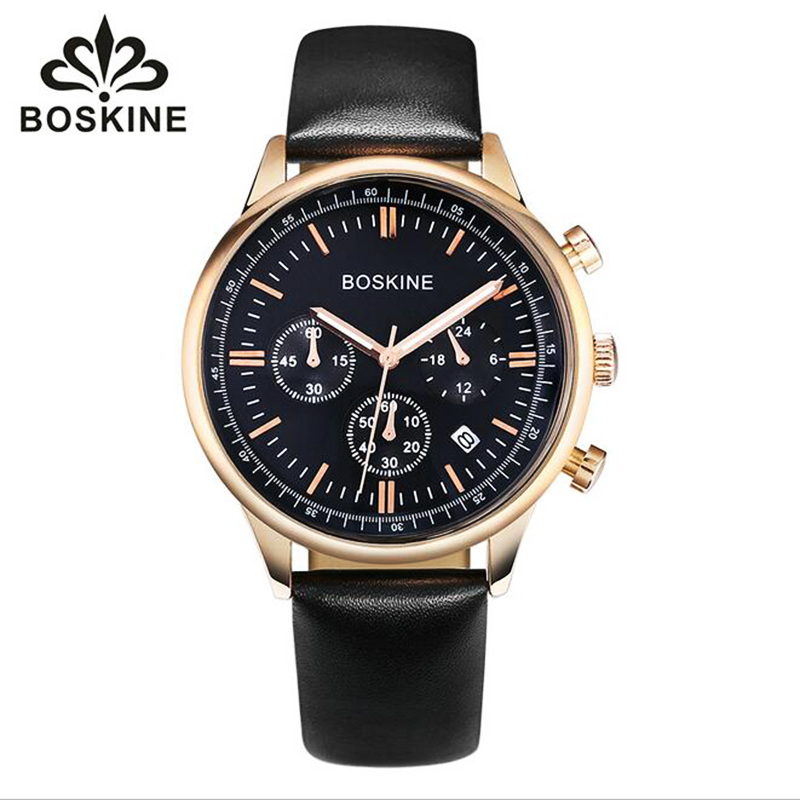 BOSKINE Mens Watches font b Top b font Brand font b Luxury b font Leather Watchband