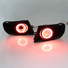 Автомобиль Стайлинг Для Mazda 6 2005-2007 LED COB Angel Eyes DRL Желтый Световой сигнал H11 Галоген/Ксенон Противотуманные Фары с Объективом Проектора