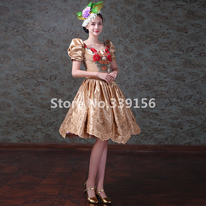 ... Christmas Vintage Printed Gold Short Gowns Masquerade Dresses Stage  Theater Ball Gowns ... 800da0001bb0
