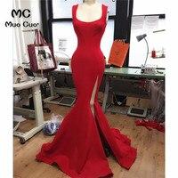 2018 Mermaid Prom Dresses Long Tank Vestido Longo Side Split Elastic Satin Formal Red Evening Party