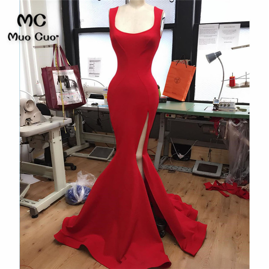 2019 Mermaid Prom Dresses Long Tank Vestido Longo Side Split Elastic Satin Formal Red Evening Party Dress 100% Real
