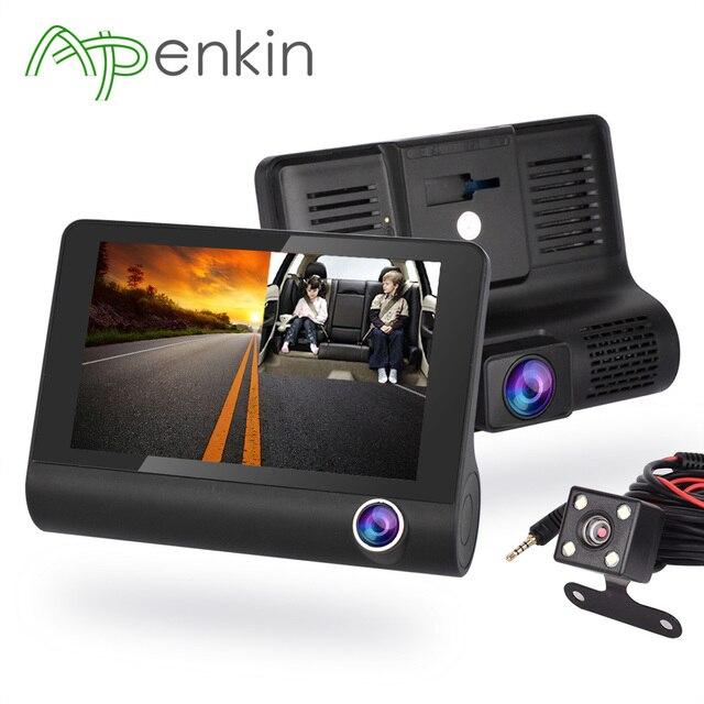 Arpenkin Q6 4'' Car DVR Camera 1080P Video Recorder 170 Degree Auto Registrar Three Ways Dashcam Rear View Two Cameras Dual Lens