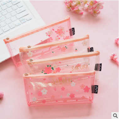 1Pcs Kawaii Pencil Case Sakura flower transparent Gift Estuches School Pencil Box Pencil Bag School Supplies Stationery