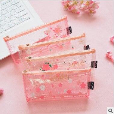 1Pcs Kawaii Pencil Case Sakura Flower Transparent Gift Estuches School Pencil Box Pencil Bag School Supplies Stationery