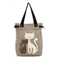 Мода 2017 г. Для женщин сумки милый кот Сумка Леди Сумки-холсты сумка