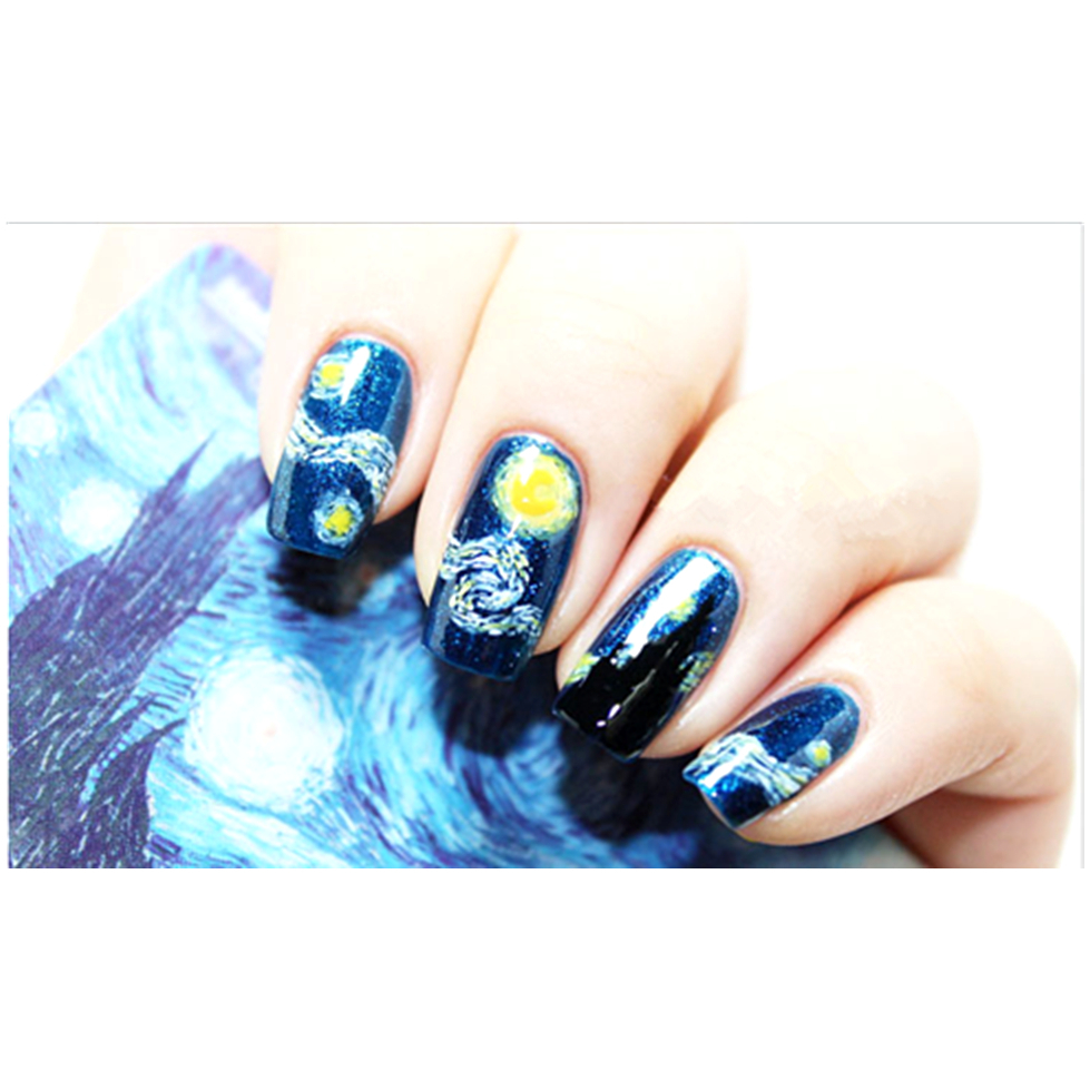 Van Gogh Starry Night Nail Art Sticker High Quailty Foils Decals Summer Style Makeup French Manicure Free Shipping In Stickers From Beauty