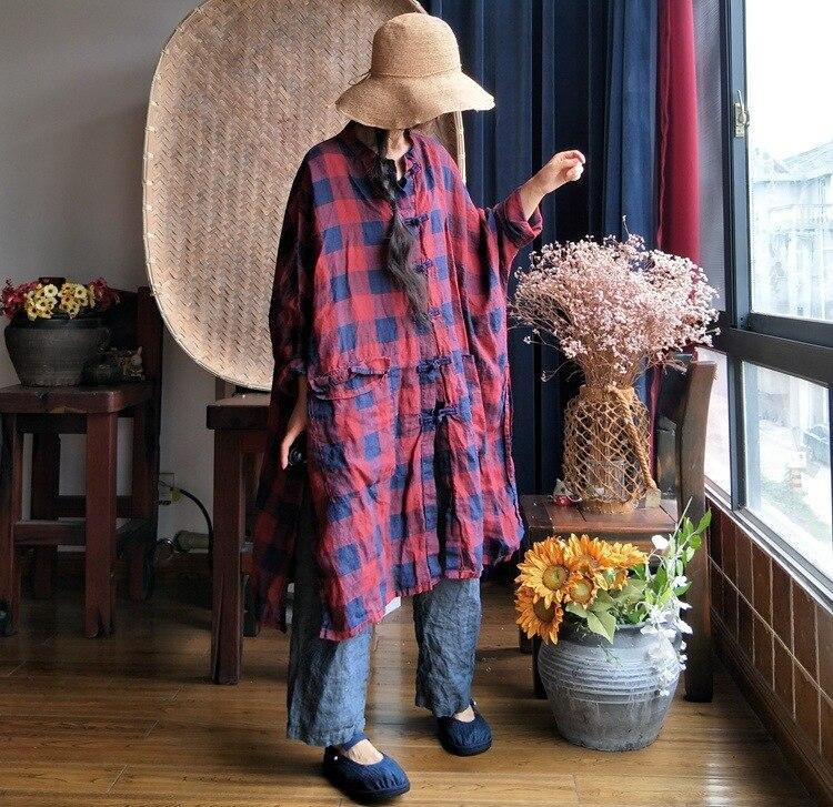 女性リネン洗浄不規則なシャツブラウス女性の格子縞亜麻ヴィンテージシャツカーディガン 2019 春トップスプラスサイズ  グループ上の レディース衣服 からの ブラウス & シャツ の中 1