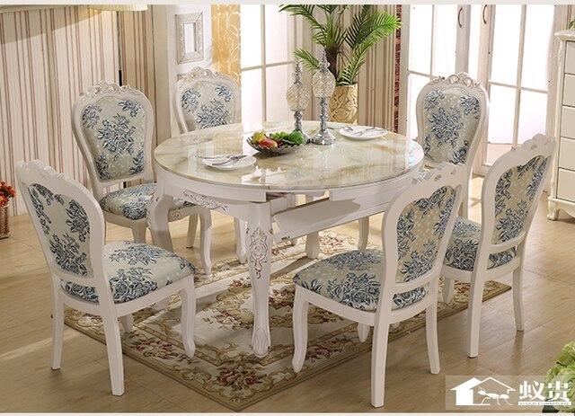 Luxe houten eetkamer uitschuifbare tafel en stoel met carving