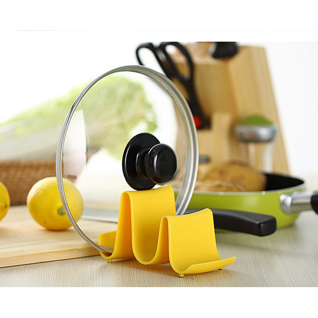 New Wave Style Pan Pot Cover Spoon Rack Stand Holder Kitchen Accessories Utensil Tool Random Color Beauty Easy Use