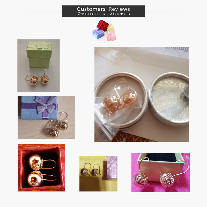 Davieslee Womens Stud Earrings 585 Rose Gold Filled Round Ball Stud Earring for Women Fashion Jewelry Snap Closure LGE66 5