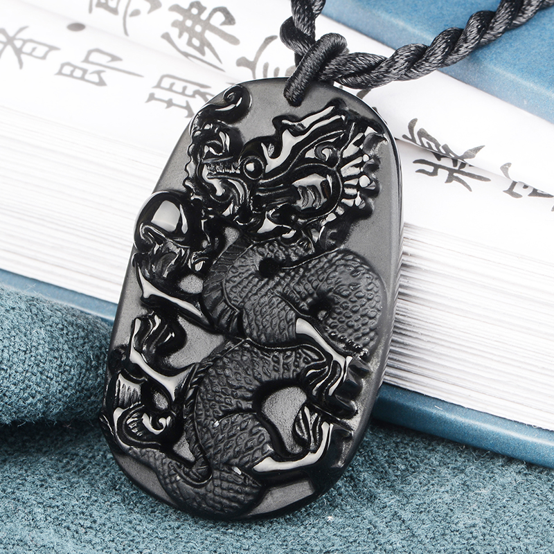 PUHOLY/ belwide jewelry Obsidian dragon card mani Obsidian Dragon Pendant Pendant