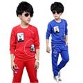 boys clothing sets 2016 new fashion spring big boy clothes sets long sleeve printed casual boys tracksuit top fleece+pants 5-11T