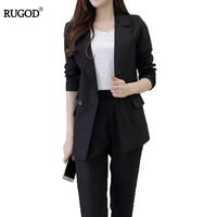 RUGOD 2018 Autumn Winter Fashion Work Wear Women Pants Suits Slim Formal Long Sleeve Blazer And
