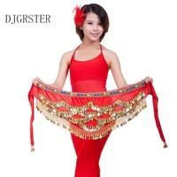 DJGRSTER New Style Coins Belly Dance Waist Chain Hip Scarf Belly Dance Belt 328Gold Coins Sequin