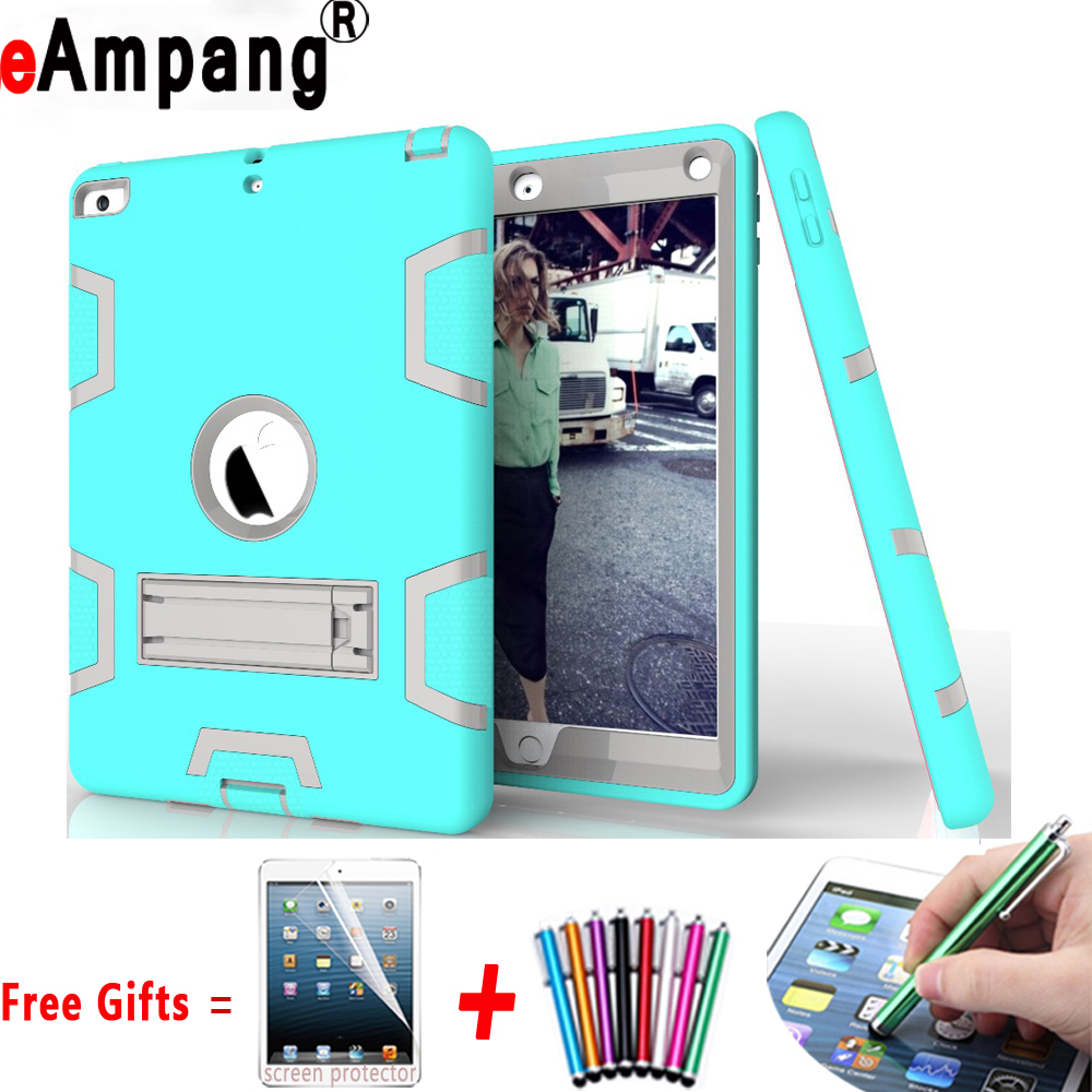 For Apple iPad 2 iPad 3 iPad 4 9.7 inch Cover Case Silicon Kids Safe Stand Case Cover + Screen Protector Film Stylus Pen Gifts newest hard shell leather cover case for kobo aura h2o 6 8 inch ebook wake up and sleep screen protector stylus pen