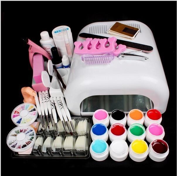 ФОТО New Pro Gel Nails Set 36W UV GEL White Lamp &12 Color UV Gel Nail Art Tools Sets Kits Gel Nail Kits With Lamp Manicure Set 34209
