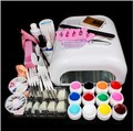 New Pro Gel Nails Set 36W UV GEL White Lamp &12 Color UV Gel Nail Art Tools Sets Kits Gel Nail Kits With Lamp Manicure Set 34209