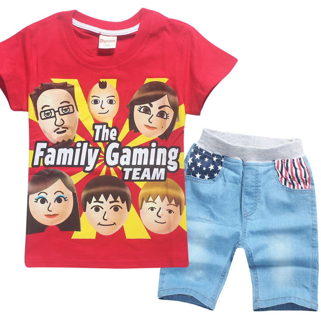 Childrens Set Roblox Fgteev the Family Game T-shirt + Jeans 2 Pcs Boys Set Summer Leisure Kids Clothes Teen Girls Sports Suits