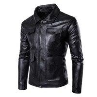 New Designer Leather Jackets Men Windbreaker Waterproof Men S Motorcycle PU Leather Jacket Mandarin Collar Zipper