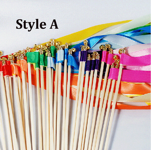 Free shipping 50pcs /lot Multicolour Wedding Ribbon Stick/Sparklers Fairy Magic Wands with Bell Wedding ribbon wands(China)
