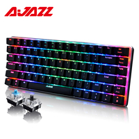 Ajazz AK33 82 Keys Russian Gaming Keyboard Wired Mechanical Keyboard Blue/Black Switch RGB Backlit Conflict free Rollover Gamer