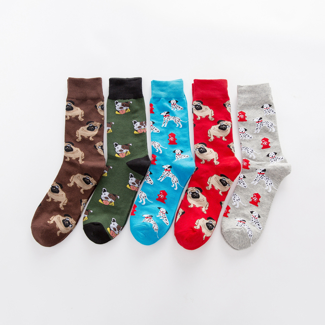 Jhouson 1 pair Colorful Men's Combed cotton Funny Socks Novelty Casual Dog Pattern Crew Skateboard Socks For Wedding Gifts 1