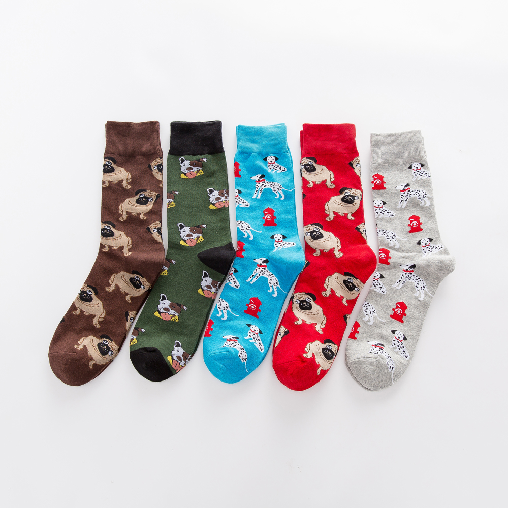 Jhouson 1 Pair Colorful Men's Combed Cotton Funny Socks Novelty Casual Dog Pattern Crew Skateboard Socks For Wedding Gifts