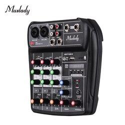 Muslady AI-4 Compacto Placa de Som 4-Canal Mixing Console Mixer De Áudio Digital + 48 V Phantom Power para a Música karaoke DJ Ao Vivo