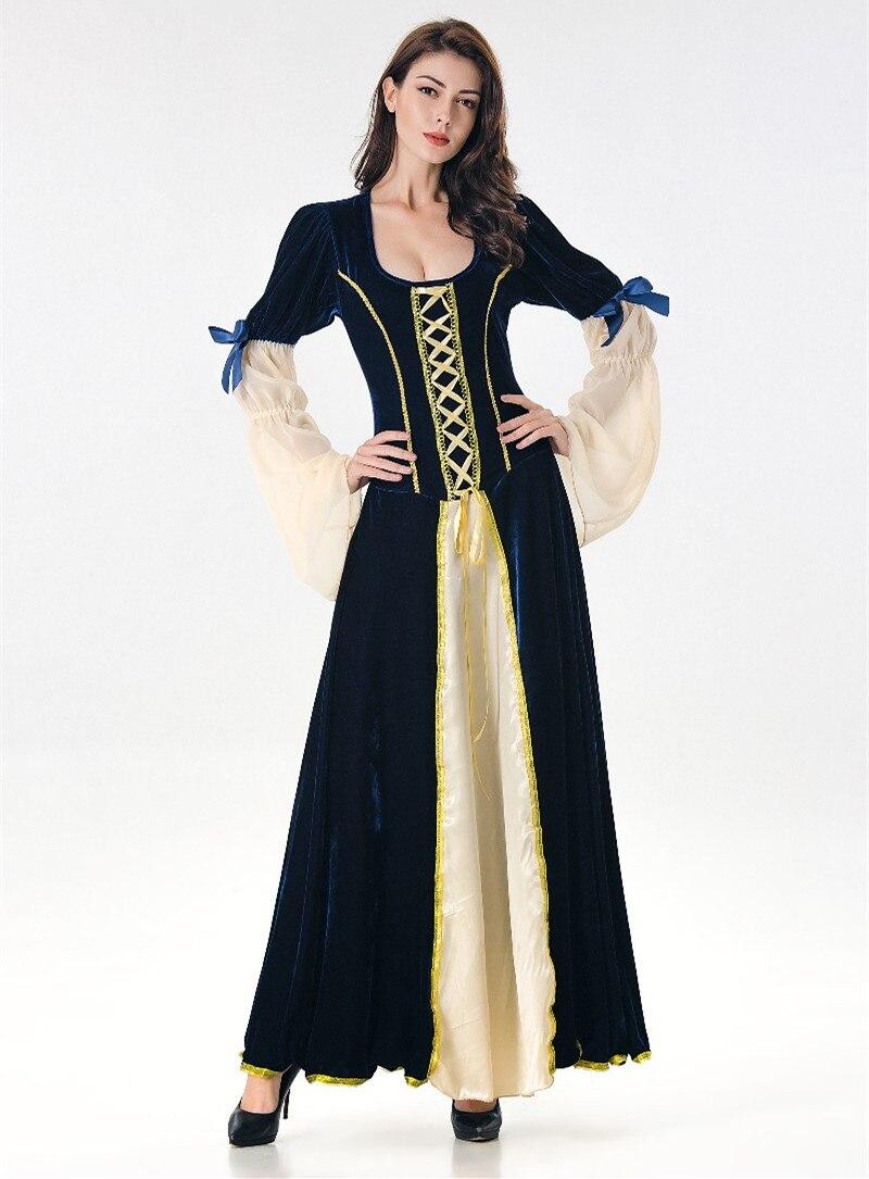 Rinascimento Medievale Cameriera Abiti Lunghi Vestiti Da Sera Delle Donne  di Halloween Del Partito di Travestimento ac82b8d097ac