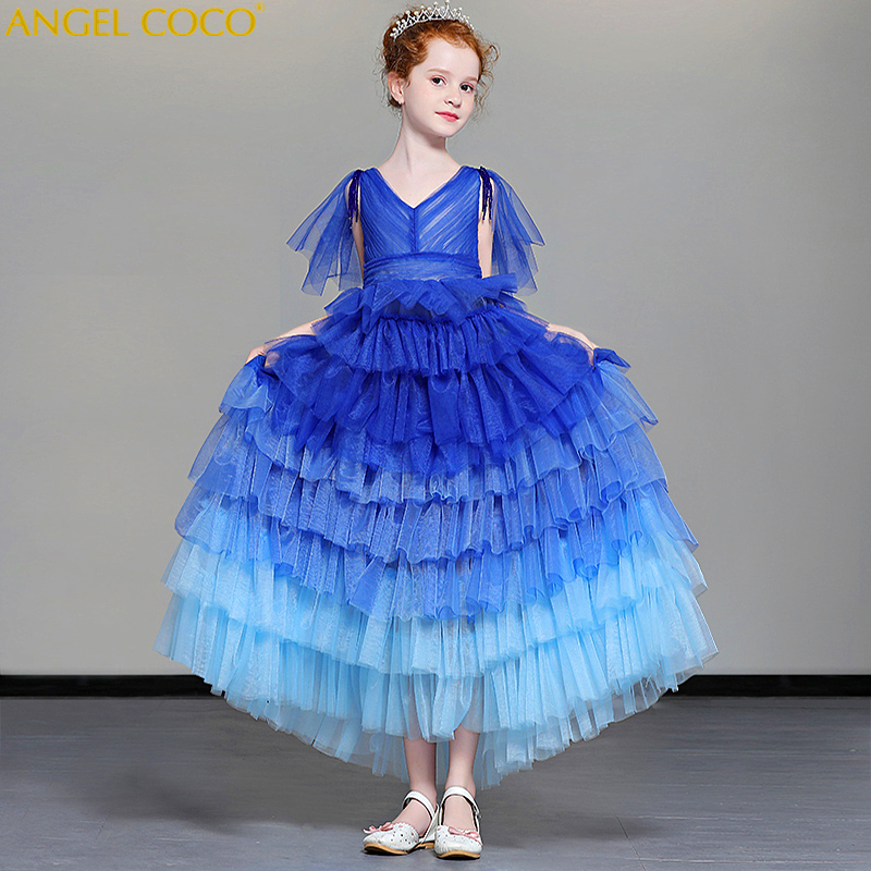 5 14 Years Kids Dress for Girls Wedding Tulle Lace Long Girl Dress Elegant Princess Party Pageant Formal Gown for Teen Children