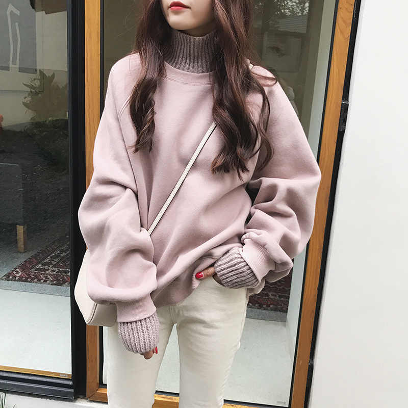 Autumn Wool Stitching Turtleneck Fake Two Pieces Plus Velvet Thickening Hooded Sweatshirt Female Student Loose Mujer Tops MZ3218