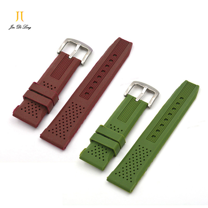 1pcs silicone watchbands watch strap 16mm 18mm 20mm 22mm 24mm Buckle watch band green brown black
