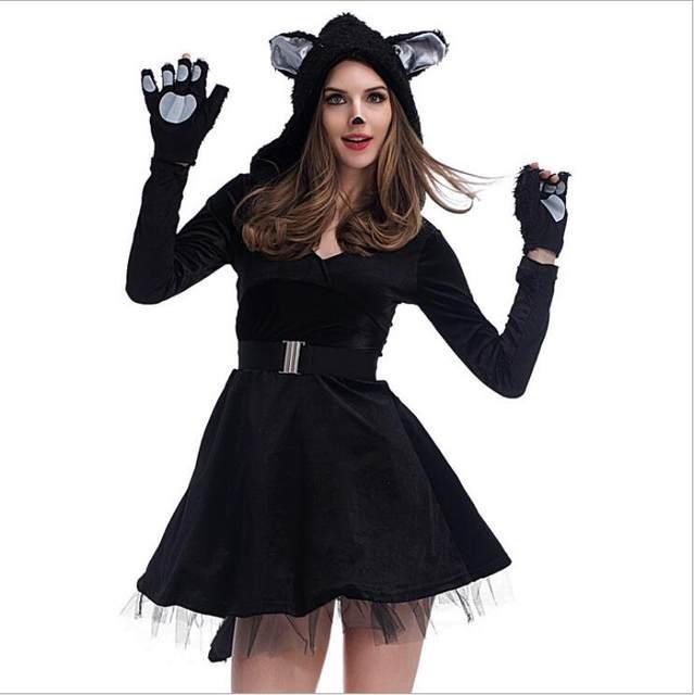 Online Shop Freepp Couples Cat Suit Halloween Costumes Adult Women Men Black Cat Jumpsuit Animal Bear Cosplay Catsuit 2017 Plus Size Costume Aliexpress