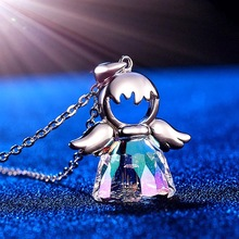 SWAN JEWELRY Cute Romantic 925 Sterling Silver Crystal Necklace Sweet Angel Pendant Necklace Jewelry Gifts For Women Girl Friend