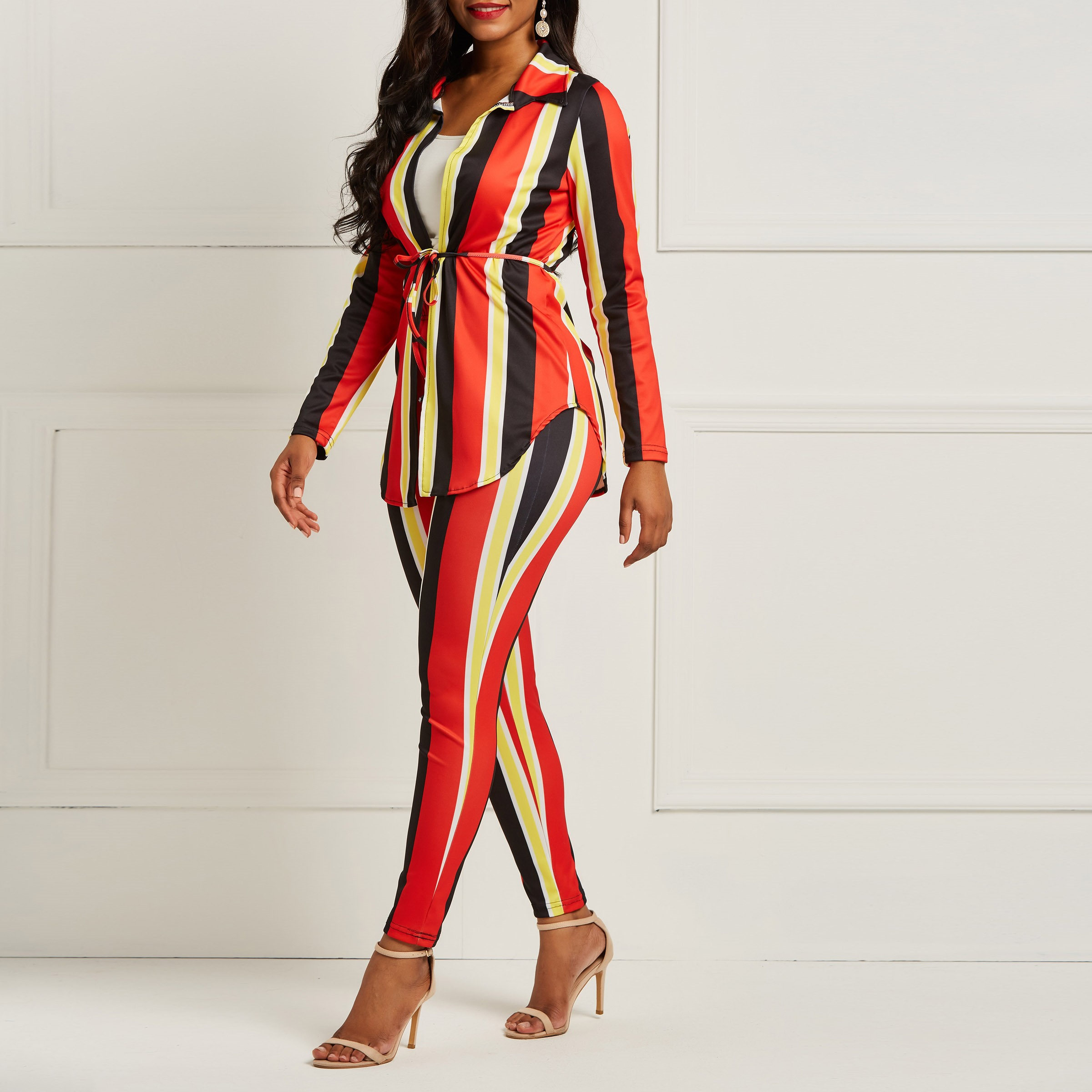 Women Striped Two Piece Long Sleeve Shirt Top+Pants Outfit Outfit Office Work