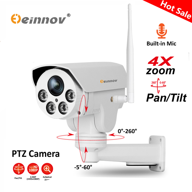 Einnov Ptz Ip Camera 4x Zoom 1080p 960p Outdoor Wireless Home Security Wifi Video Surveillance Audio Record Onvif Hd Ir