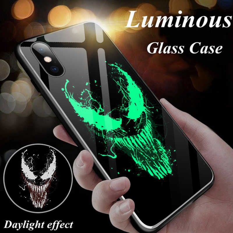 Marvel Venom Batman Iron Man Luminous Glass Phone Case For iPhone 11 Pro Max  XSmax XR XS X 8 7 6 s Plus Captain America Cover